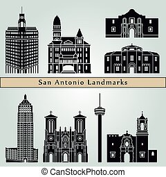 San Antonio landmarks and monuments isolated on blue...