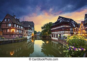Strasbourg. - Image of Strasbourg old town during dramatic...