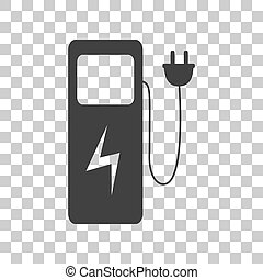 Electric car charging station sign Dark gray icon on...
