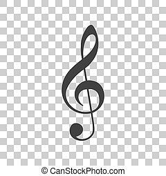 Music violin clef sign. G-clef. Treble clef. Dark gray icon...