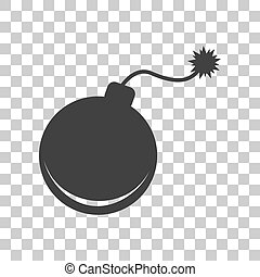 Bomb sign illustration. Dark gray icon on transparent...
