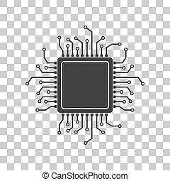 CPU Microprocessor illustration. Dark gray icon on...