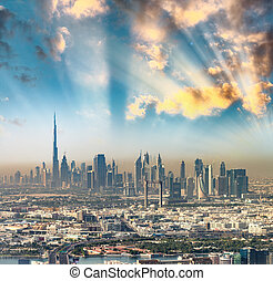 Downtown Dubai from helicopter.