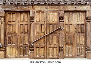Old wooden door in Patan, Nepal