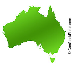 Australia map - Green Australia map, isolated on white...