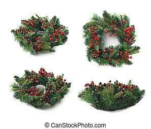 Christmas fir wreath isolated - Christmas decorational fir...