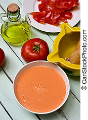 preparing spanish gazpacho - a bowl with spanish gazpacho...