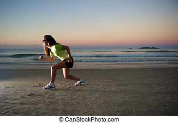 Sport Spirit - Woman doing exercises during sunset with...