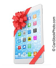 White tablet with bow 3D rendering - White tablet with red...