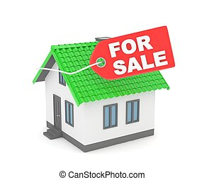 House for sale 3D rendering - Model of house with label for...