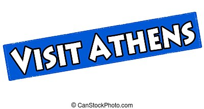 Visit Athens - Rubber stamp with text Athens visit inside,...