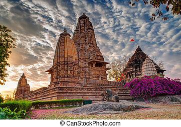 Eastern Temples of Khajuraho, Madhyapradesh, India -...
