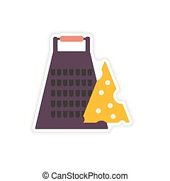 stylish paper sticker on a white background Grater and...