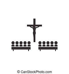 plano, estilo, gente, negro, iglesia, blanco, icono