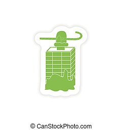 paper sticker on white background Santa in the chimney