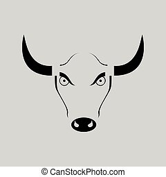 Flat in black and white angry bull