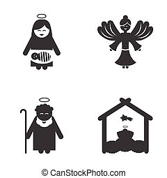 Set of flat icon black and white style holy Family