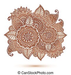Vector floral element in Indian henna tattoo style - Vector...