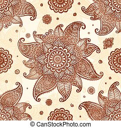 Hand drawn henna tattoo flowers vector seamless pattern -...
