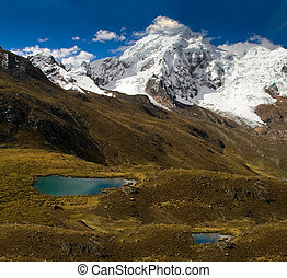 great landscape with a glacier, mountains and lake - grassy...