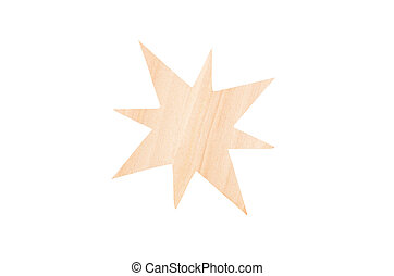Christmas wooden star, isolated on white background