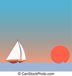 Sailing Boat with Sunset - Sunset on the sea, a boat, the...
