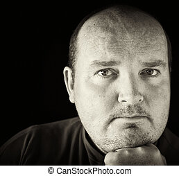 black and white of a male in his 30\'s overweight - photo...