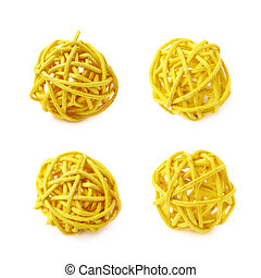 Decorative straw ball isolated - Decorative colored straw...