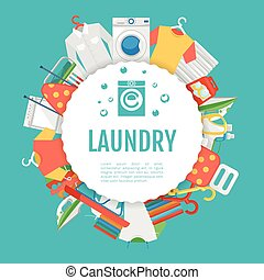 Laundry service poster design. Icons circle label with text...