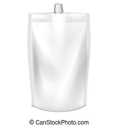 Doypack vector. Blank doy pack with spout lid. Liquid...