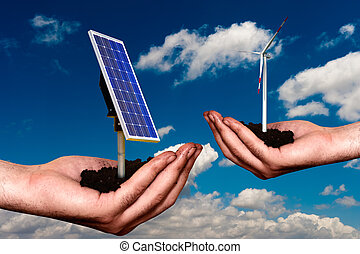 Offering new energy - Hand offering renewable energy systems