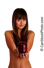Eva - beautiful naked young woman with rad apple on white...