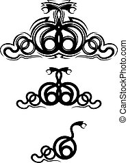 Snake tattoo - Isolated snakes as a frame or tattoo design