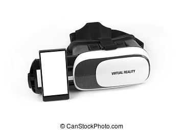 virtual reality glasses with mobile phone isolated on white