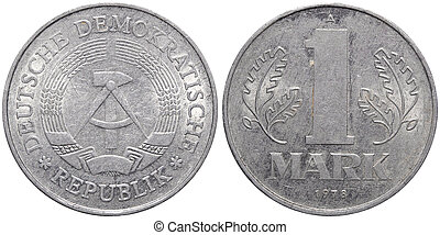 One East German mark coin formerly used in the GDR