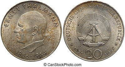 Commemorative coin of the German Democratic Republic with portrait of Ernst Thaelmann