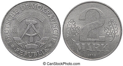 Two East German mark coin formerly used in the GDR