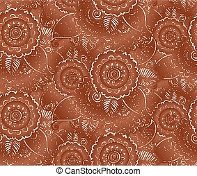 Indian henna tattoo style vector seamless pattern - Indian...