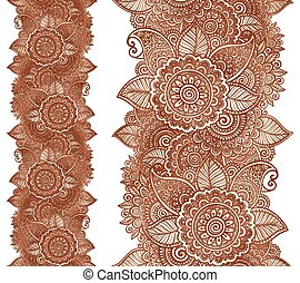 Indian henna tattoo style vector floral vertical seamless...