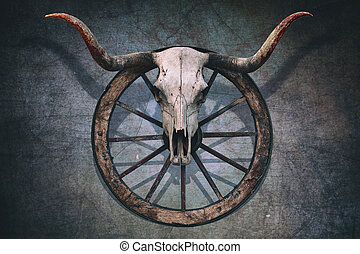 Bloody Bull Skull - Long horned bull skull and old west...