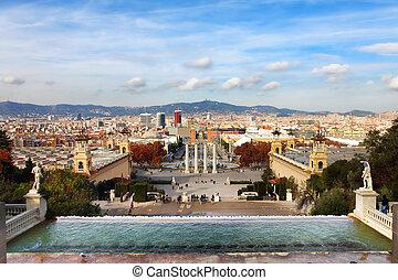 Plaza de Espanya in Barcelona, Spain - Montjuic fountain on...