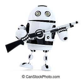 Robot with shotgun. Technology concept. 3D illustration. Contains clipping path