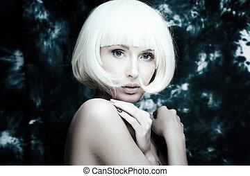 Closeup beauty portrait of blonde lady - Closeup beauty...