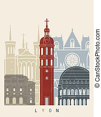 Lyon skyline poster in editable vector file