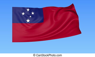Waving flag of Samoa, seamless loop. Exact size, blue...