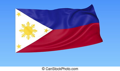 Waving flag of Philippines, seamless loop. Exact size, blue...