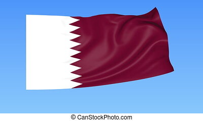 Waving flag of Qatar, seamless loop. Exact size, blue...