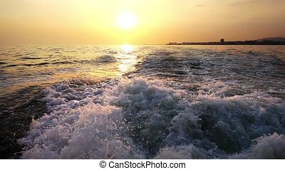 Sea Waves and Sunset - Sea Waves Bubbles and Sunset Behind...