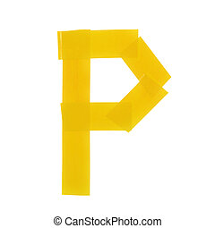 Letter P symbol made of insulating tape pieces, isolated...