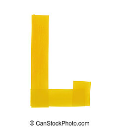 Letter L symbol made of insulating tape pieces, isolated...